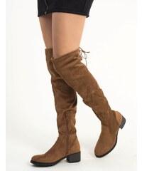 2dcc4035e20 Huxley & Grace Γυναικείες κάμελ σουέντ χαμηλές μπότες Overknee MAH651
