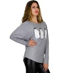 7fdbca683b3c Μπλούζα Miss Pinky πλεκτή με σχέδιο πιγκουίνους - ΓΚΡΙ 104-1410