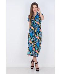 BSM Γυναικείο φόρεμα μακό με κουμπιά και ζώνη ΜΠΛΕ 4f42c6f85fa