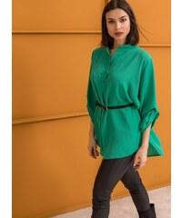 The Fashion Project Πουκαμίσα με μάο γιακά και ζωνάκι - Πράσινο -  06511016001 6324be65373
