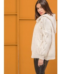 5c23aeed734f The Fashion Project Ζακέτα με κουκούλα και σχέδιο στην πλέξη - Μπεζ - 001