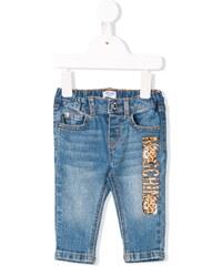 Moschino Kids leopard print logo jeans - Blue 29eec91aba5