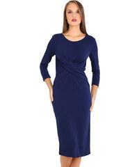 3026613d64f9 e-xclusive Κρεπ μίντι φόρεμα με χιαστί λεπτομέρεια εμπρός