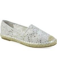 6f10877d62 InShoes Γυναικείες εσπαντρίγιες με κέντημα Ασημί