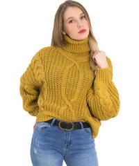 Huxley   Grace Γυναικείο ώχρα πλεκτό πουλόβερ χοντρό ζιβάγκο 3214L aa5d9d50c88