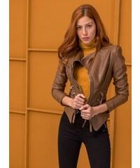 The Fashion Project Μεσάτο biker jacket με φερμουάρ και διπλό γιακά - Ταμπά  - 06535007004 ec8ca77758b