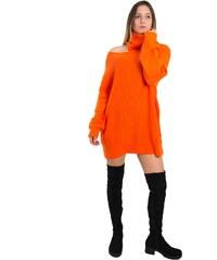 3986e0d6668d Huxley   Grace Γυναικείο πορτοκαλί φόρεμα Oversize πλεκτό ζιβάγκο M7812L