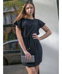 35a7b55fb568 Stylegr Φόρεμα κοντό με βολάν στα μανίκια μαύρο - S