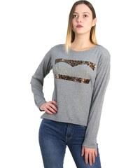 Marlen Γυναικεία γκρι ασσύμετρη μπλούζα λεοπάρ τύπωμα 1175932 7e01419ce7c