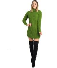 33dc2e9c3f20 Huxley   Grace Γυναικείο πράσινο πλεκτό φόρεμα Oversize με ζιβάγκο 233023F