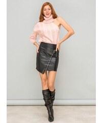 The Fashion Project Ασύμμετρη φούστα δερματίνη με λοξό φερμουάρ - Μαύρο -  06313002006 c42da97eb86