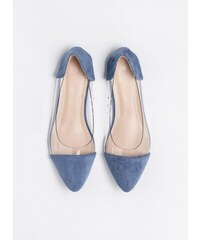 The Fashion Project Flat suede μυτερές μπαλαρίνες με διαφάνεια - Ραφ -  06577069002 5db2ef13975