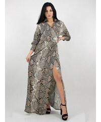 c9cbbc5bb94c Stylegr Μακρύ κρουαζέ φιδέ φόρεμα