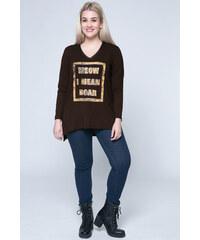 de642166180a Happysizes Μακρυμάνικη μπλούζα σε καφέ χρώμα με τύπωμα