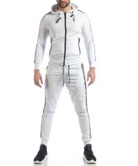 fc1c79c434 FM Ανδρικό λευκό αθλητικό σετ 5 striped