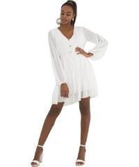DeCoro F11661 Φόρεμα Πουά με Διακοσμητικά Κουμπάκια - ΑΣΠΡΟ - 10 0f6e821adf6