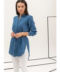 2a0ed343e260 Noobass Denim πουκαμίσα με ανοίγματα στο πλάι - Μπλε jean - 06723024004