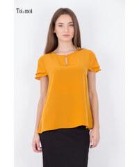 TOI MOI Γυναικεία μπλούζα με βολάν στο μανίκι ΜΟΥΣΤΑΡΔΙ 19e15358fce