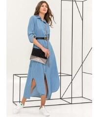 The Fashion Project Maxi φόρεμα πουκάμισο με denim όψη - Μπλε jean -  06738024001 d66fdc1e0a8