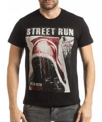 c9ec1c3a0853 Ανδρική μαύρη κοντομάνικη μπλούζα Street Run
