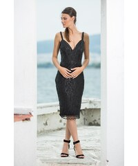 e14e63c6555c e-xclusive Μαύρο κρουαζέ μίντι φόρεμα με κρόσια - Glami.gr