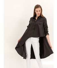 The Fashion Project Ασύμμετρη πουκαμίσα με λεπτομέρεια στο γιακά και τα  μανίκια - Μαύρο - 06845002001 efaee83cab9