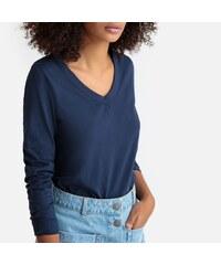 32f9277829cd LA REDOUTE COLLECTIONS Μακρυμάνικη μπλούζα με V από βιολογικό βαμβάκι