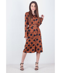 OEM Γυναικείο φόρεμα σατέν με ζώνη στην μέση ΚΑΦΕ 5604dc602d5