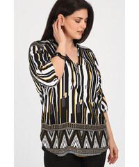 2a1d9f5b8e90 Dina XL Plus Size Μπλούζα εμπριμέ με φερμουάρ στο V