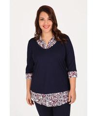 7d59f6661e4d Dina XL Plus Size Μπλούζα με λεπτομέρειες πουκαμίσου