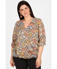 Dina XL Plus Size Εμπριμέ κρουαζέ μπλούζα με καρφίτσα. 8290f5c96df