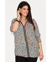 c3b1980d032f Dina XL Plus Size Αμπιγιέ λεοπάρ πουκάμισο με φερμουάρ.