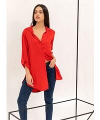 The Fashion Project Μακριά πουκαμίσα με κουμπιά σε άνετη γραμμή - Κόκκινο -  07125014001 b00741399bd