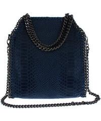 67529297fa Selvino Δερμάτινη Τσάντα Ώμου μεσαία μπλε σκούρο με αλυσίδα