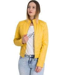 f3babc7c6397 Huxley & Grace Γυναικείο κίτρινο μπουφάν δερματίνη με τσέπες AW068Y