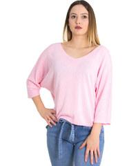 cab992c9657b Huxley   Grace Γυναικεία ροζ μακρυμάνικη μπλούζα λεπτή πλέξη 5013L