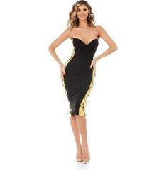d79a4528e3da RO FASHION 9305 RO Μοντέρνο στράπλες μίντι φόρεμα - Μαύρο Χρυσό