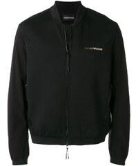 d4bbb9377444 Emporio Armani logo print bomber jacket - Black