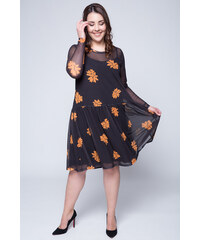 234f18f08c5f Happysizes Μαύρο mesh φόρεμα με πορτοκαλί λουλούδια