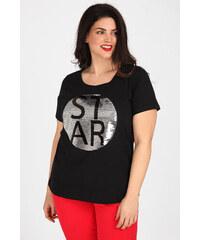 92cc36b7a89d Zhenzi Plus Size Bαμβακερό T-shirt με διπλής όψεως παγιέτες logo