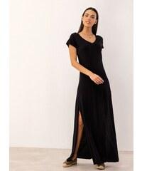 41497eb7feb Noobass Maxi μακό φόρεμα με ανοίγματα στο πλάι - Μαύρο - 06828002001