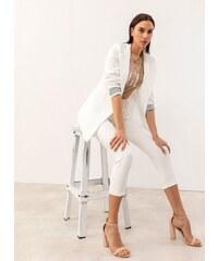 bf6a20145a66 The Fashion Project Μακρύ σακάκι με ριγέ λεπτομέρεια στα μανίκια - Λευκό -  07226001004