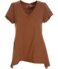 abbcd0c1940 ATTRATTIVO Γυναικεία κοντομάνικη κάμελ μπλούζα φλάμα V, άνετη γραμμή