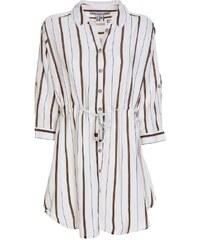 0ed8c5f5dd9 ATTRATTIVO Γυναικεία μακρυμάνικη μακριά λευκή τρουκάρ ριγέ πουκαμίσα