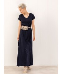b25c4ebbf824 Noobass Maxi μακό φόρεμα με ανοίγματα στο πλάι - Μπλε σκούρο - 06828023001