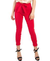 84aaf56291 Huxley   Grace Γυναικείο κόκκινο ελαστικό παντελόνι σωλήνας ζωνάκι 9119T