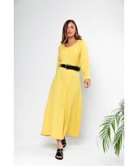 f3bfd5181074 Luigi Μaxi Φόρεμα με Ζώνη - Κίτρινο - 001