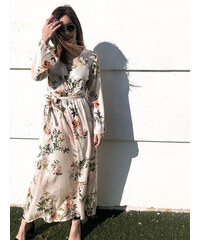 d76a25b002e1 Stylegr Κρουαζέ φόρεμα cream με λουλούδια