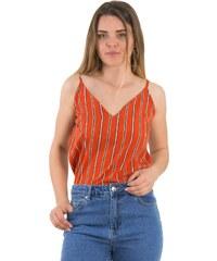 51c182b0c934 Γυναικείο πορτοκαλί ριγέ τοπ ραντάκι μονόχρωμο Coocu 36764