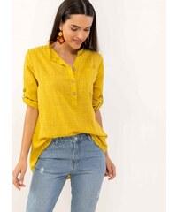 0213ad4c0835 The Fashion Project Λινή πουκαμίσα με μάο γιακά και τσεπάκι - Μουσταρδί -  07385056001